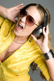 Yelling Music Girl Stock Images