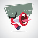 Yelling out megaphone character design with speech bubble. atten Stock Photo