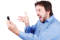 Yelling on phone Stock Photography