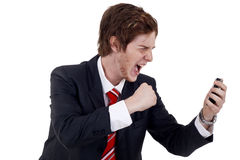 Yelling on the phone Royalty Free Stock Photo