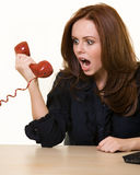 Yelling into the phone Royalty Free Stock Photography