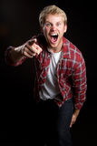 Yelling Pointing Man Royalty Free Stock Photo