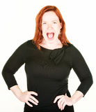 Yelling single woman with red hair Stock Image