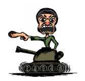 Yelling soldier on the tank. Caricature of yelling soldier on the tank Royalty Free Stock Photo