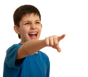 Yelling teen pointing forward Royalty Free Stock Photography