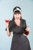 Yelling Woman in Black Dress with Cosmopolitan Stock Image