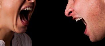 Yelling woman mouth closeup Stock Image