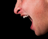 Yelling woman mouth closeup Stock Images