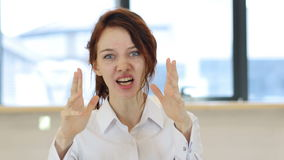 Yelling Woman in Office stock video footage