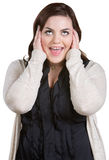 Yelling Woman with Covered Ears Stock Photo