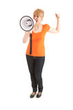 Yelling young woman with megaphone and raised fist Royalty Free Stock Images