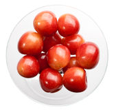 Yelliw cherry in glass bowl Royalty Free Stock Image