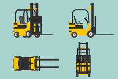 yelllow铲车的平的概念性例证 库存图片