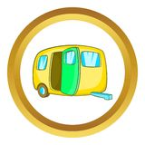 Yelllow camping trailer vector icon Stock Images