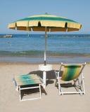 Yelllow and Green Beach Umbrella Stock Image
