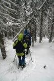 Yelllow Parka, Snowshoewanderer Lizenzfreie Stockfotos