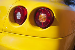 Yelllow sports car spot lights Stock Image