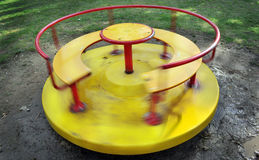 Yello carousel spinning Stock Photo