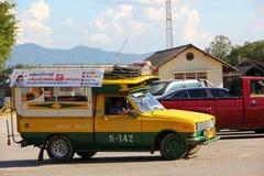 Yello and green taxi. For Lampang city, thai call song taew Stock Photo