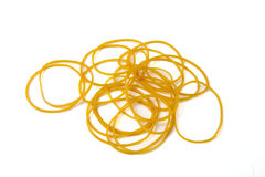 Yello rubber bands ball on a white background Royalty Free Stock Images