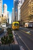 The yellov tram in Market Street, San Francisco Royalty Free Stock Photo