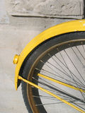 Yellow. Cycle.Tire closeup Royalty Free Stock Photo