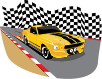 Yellow 1967 mustang. An ilustration of a ford mustang on a road Stock Image