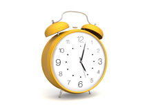 Yellow 3d alarm clock. 3d render of a yellow alarm clock. Isolated on white Stock Photos