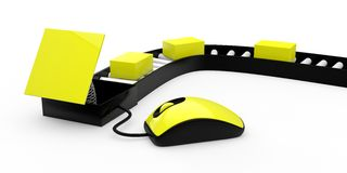 Yellow 3d mouse with boxes Stock Photo