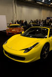 Yellow 458 Spider. HOUSTON - JANUARY 2012: The Ferrari 458 Spider sports car at the Houston International Auto Show on January 28, 2012 in Houston, Texas Stock Images