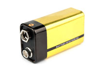 Yellow 9v battery Royalty Free Stock Image