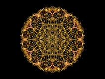 Yellow abstarct flame mandala flower, ornamental floral round pa. Ttern on black background royalty free illustration