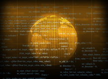 Yellow abstract background with Earth. And matrix. Elements of this image furnished by NASA stock illustration