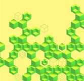 Yellow abstract background with green geometric pattern. Vector illustration royalty free illustration