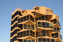 Yellow abstract building. The yellow abstract concrete building Stock Photo
