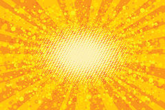 Yellow abstract pop art background, retro rays. Vector Stock Image