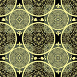 Yellow abstract seamless lace pattern texture background Stock Photo