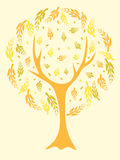 Yellow abstract tree. A vector illustration of a beautiful tree in yellow tones Stock Photo