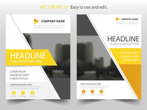 Yellow abstract triangle annual report Brochure design template vector. Business Flyers infographic magazine poster. Royalty Free Stock Photos