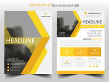 Yellow abstract triangle Brochure design template vector. Business Flyers infographic magazine poster.Abstract layout template ,. Book Cover presentation Royalty Free Stock Photo