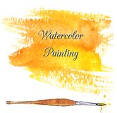 Yellow abstract watercolor background with brush Stock Images