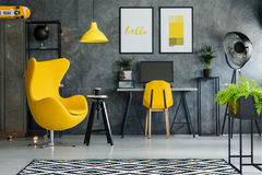 Yellow accents and retro accessories. Hipster interior with modern furniture, yellow accents and retro accessories Stock Photos