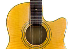 Yellow Acoustic Guitar. An Isolated yellow cutaway acoustic guitar on white Royalty Free Stock Photos