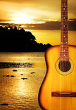 Yellow Acoustic Guitar Stock Photography