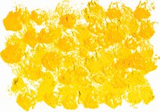 Yellow acrylic paint Background. Isolated on white Stock Photos
