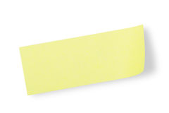 Yellow adhesive note. Type some words on this yellow adhesive paper(with clipping path Stock Photo