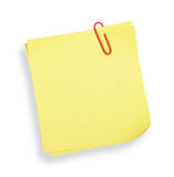 Yellow adhesive note(with clipping path). Adhesive note on white background(with clipping path Stock Photos