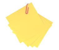 Yellow adhesive note  isolated Royalty Free Stock Photos