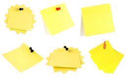 Yellow adhesive note isolated. On white Royalty Free Stock Photography