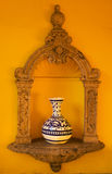 Yellow Adobe Wall Blue Vase Mexico Royalty Free Stock Image